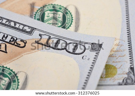 Hundred dollars bill fragment macro, new edition. - stock photo