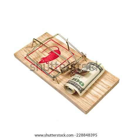 Hundred Dollars Bill in Mouse Trap over white background - stock photo