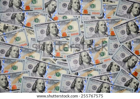 Hundred dollars bills - stock photo