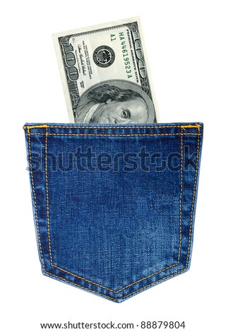 Hundred-dollars bills in back jeans pocket isolated on white - stock photo