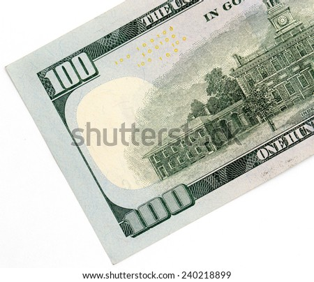 hundred dollars. close-up - stock photo