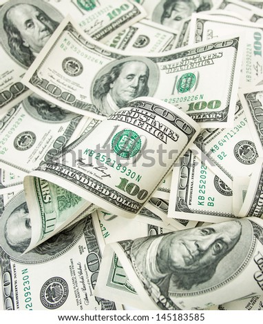 hundred dollars heap - stock photo