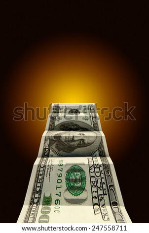 Hundred dollars on a dark blue art background. - stock photo