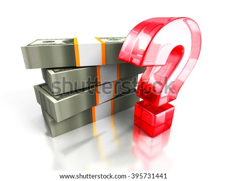 hundred dollars pack with red question mark. money search concept 3d render illustration - stock photo