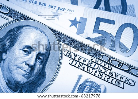 hundred dollars USA end euro background,dual tone