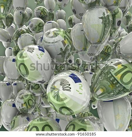 Hundred euro balloons - stock photo