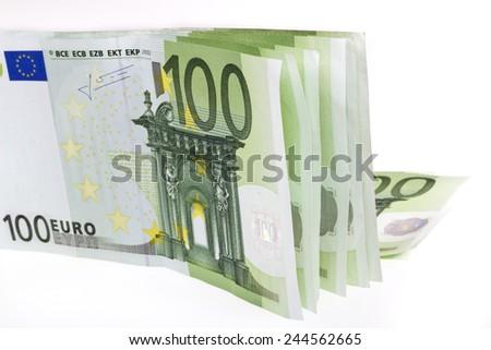 hundred euro banknotes - stock photo