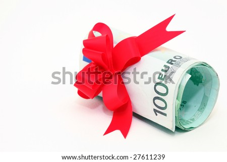 hundred euro banknotes rolled with gift ribbon isolated