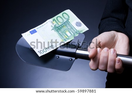 hundred euros for a shovel (sketch harvest for any design work) - stock photo