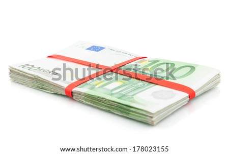 Hundred euros stack wrapped in red - stock photo