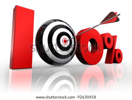 hundred per cent 100% red with conceptual target and arrow reflect on white background - stock photo
