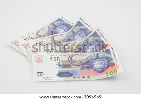 Hundred rand note spread out - stock photo