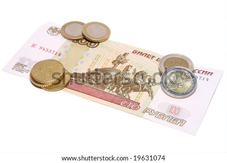Hundred rubles under few coins of euro on white background - stock photo