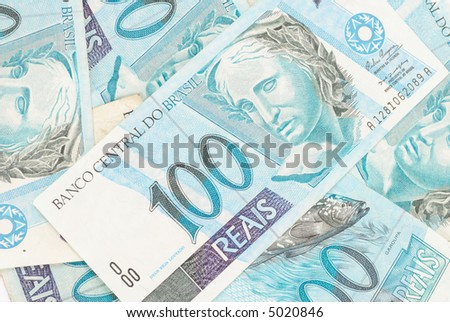 Hundred's of Brazilian real currency background . - stock photo