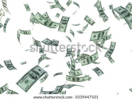 Hundred US Dollar Bills are Falling on White Background