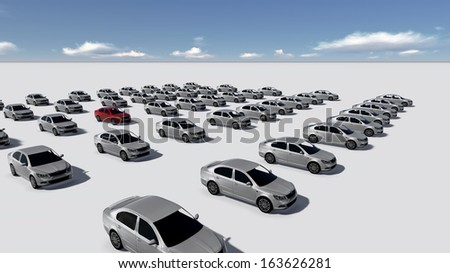 Hundreds of Cars, One Red made in 3d software - stock photo
