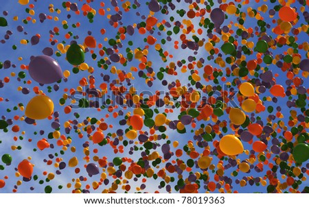 Hundreds of colorful balloons in the sky - stock photo
