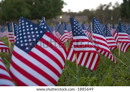 Hundreds of flags in a 9-11 memorial. - stock photo