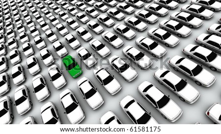 Hundreds of generic cars, one green - stock photo