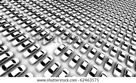 Hundreds of generic cars, one is missing - stock photo