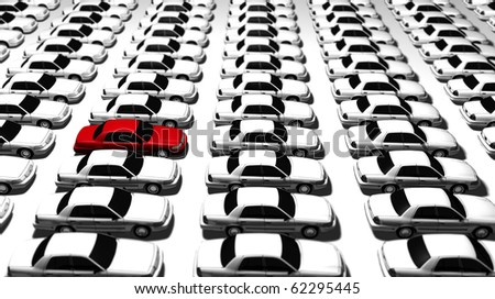 Hundreds of generic cars, one red - stock photo