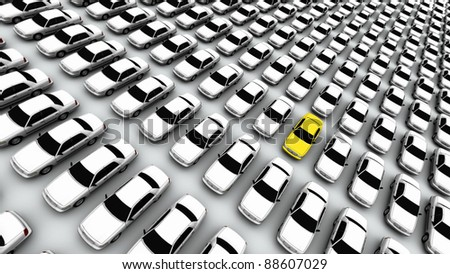 "Hundreds of generic cars. The mystery ""lemon"" car is yellow. DOF, focus is on yellow car. - stock photo"
