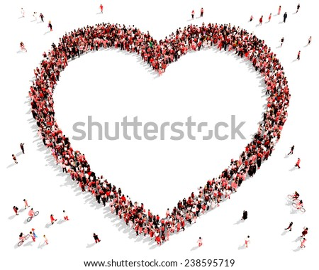 Hundreds of people dressed in red gathered together in the shape of a heart symbol - stock photo