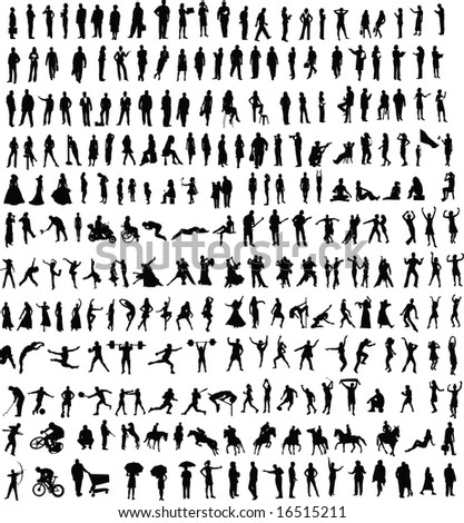Hundreds of people silhouettes (vector) - stock photo