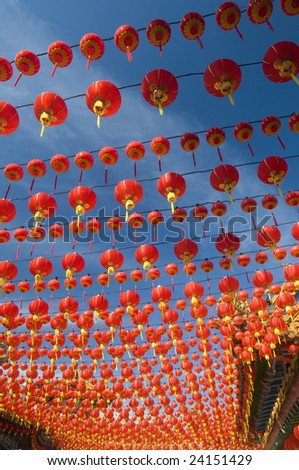 Hundreds of red lanterns at Thean Hou temple, Kuala Lumpur, Malaysia. - stock photo