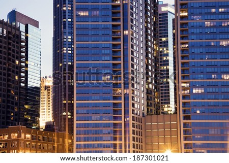 Hundreds of windows - apartment buildings in Chicago. - stock photo