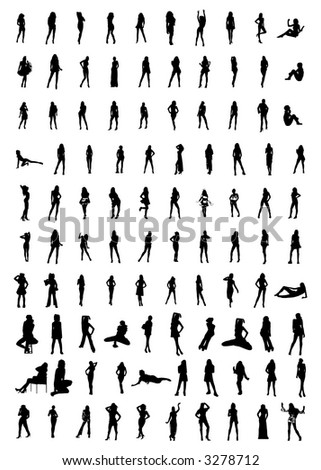 hundreds of women silhouettes - stock photo