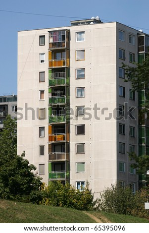 Hungarian block of flats in Miskolc from the '80s. - stock photo