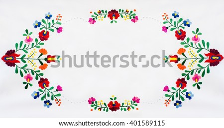 Hungarian embroidery folk frame. Folk frame made of handmade embroidery elements.