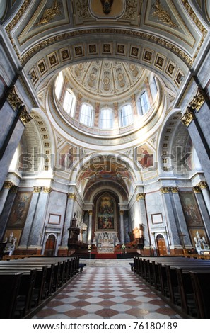 Hungarian Esztergom Basilica inside - altar view, under the dome - stock photo