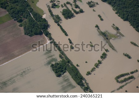 Hungarian flood by Danube 2013 - homes and other buildings & roads under water  - stock photo