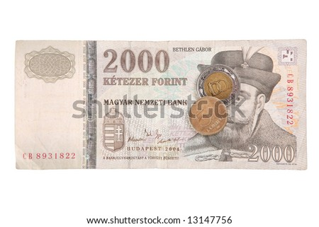 Hungarian forints (banknote of 2000 HUF and coins of 5 HUF and 100 HUF) - stock photo