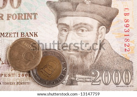 Hungarian forints (banknote of 2000 HUF and coins of 5 HUF and 100HUF) - stock photo
