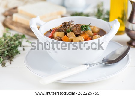 Hungarian goulash with beef - stock photo