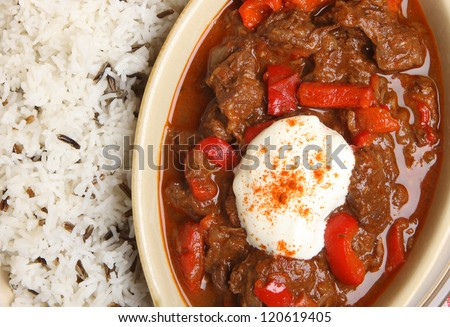 Hungarian goulash with rice and sour cream. Shallow DoF, focus on beef pieces at centre of image. - stock photo