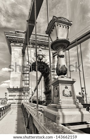 Hungarian landmark, Budapest Chain Bridge day monochrome view - stock photo