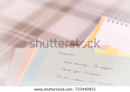Hungarian learning new language writing greetings stock photo hungarian learning new language writing greetings on the notebook m4hsunfo