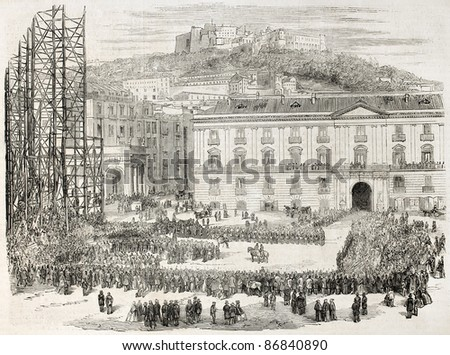 Hungarian legion in Naples, Italy. Created by Godefroy-Durand after photo of Bernoud, published on L'Illustration, Journal Universel, Paris, 1860 - stock photo
