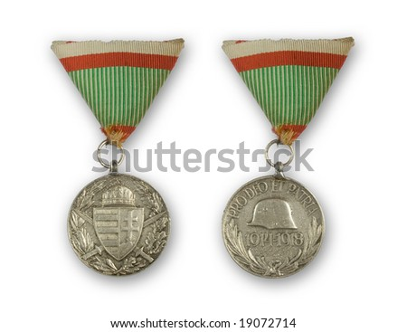 Hungarian medal of Knightly Order of Vitez - Commemorative Medal for World War I for combatants - stock photo