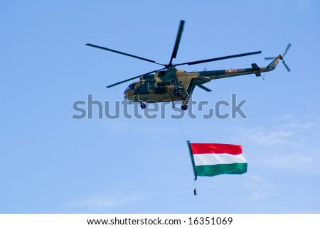 Hungarian military helicopter with flag - stock photo