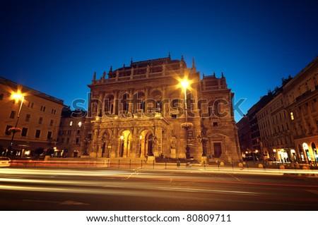 Hungarian Opera House at night - stock photo
