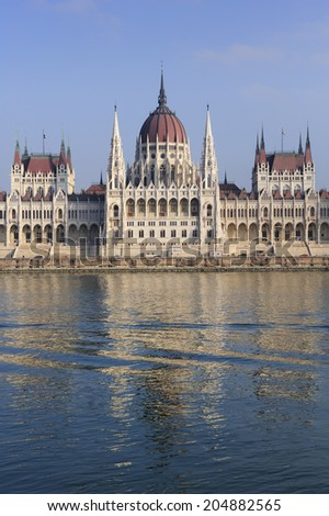 Hungarian parliament and Danube river, in Budapest Hungary. It is seat of the National Assembly of Hungary, one of Europe's oldest legislative buildings, a notable landmark of Hungary - stock photo