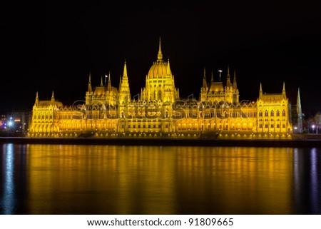 Hungarian Parliament at night, Budapest - stock photo