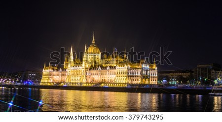 Hungarian parliament at night, Budapest. Cross Filter Effect