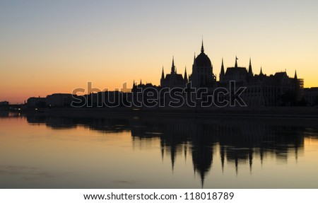Hungarian Parliament Building at Dawn - stock photo