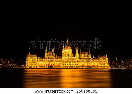 Hungarian Parliament building in Budapest at night - stock photo